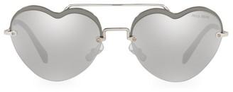 Miu Miu 58MM Mirrored Heart Sunglasses