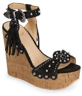 Ash Bliss Studded Suede & Cork Wedge Sandals