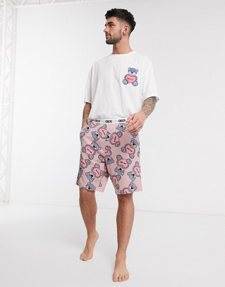 Asos DESIGN valentines lounge pyjama short and tshirt set with 'you fine' teddy bear print