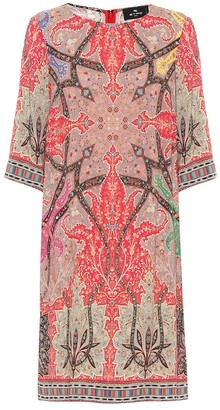 Etro Printed stretch-crepe shift dress
