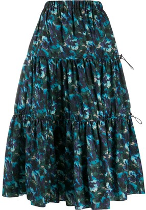 Kenzo Floral-Print Tiered Skirt