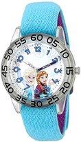 Disney Girl's 'Frozen' Quartz Plastic and Nylon Watch, Color:Blue (Model: W002983)