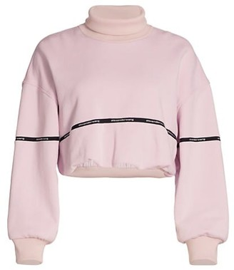 alexanderwang.t Logo Tape Cropped Bubble-Hem Sweatshirt