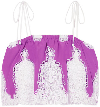 Miguelina Lyla Cropped Crochet-trimmed Cotton-voile Top