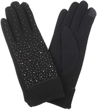 David & Young Women's Casual Gloves Black - Black Rhinestone-Accent Touch Screen Gloves