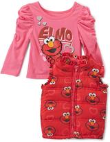 Children's Apparel Network Sesame Street Pink Elmo Ruffle Tee & Vest - Infant & Toddler