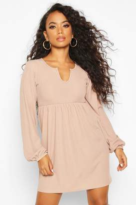boohoo Petite Blouson Sleeve Notch Neck Rib Smock Dress
