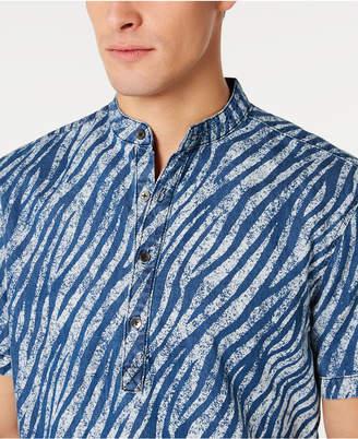 INC International Concepts Inc Men Band Collar Zebra Print Shirt