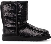 UGG Classic Short Ankle Boot In Metallic Suede With Black Sequins