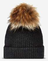 N.Peal Ribbed Cashmere Hat With Detachable Pom