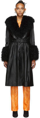 Saks Potts Black Foxy Shearling Coat