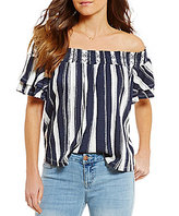 Living Doll Striped Smocked Off-The-Shoulder Tiered-Sleeve Knit Top