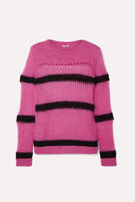 Miu Miu Striped Open-knit Mohair-blend Sweater - Fuchsia