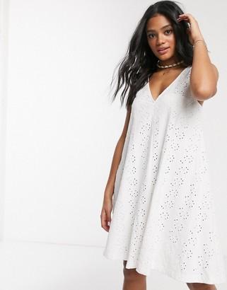 ASOS DESIGN broderie swing mini sundress in white
