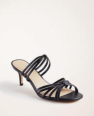 Ann Taylor Ellis Leather Knot Heeled Sandals