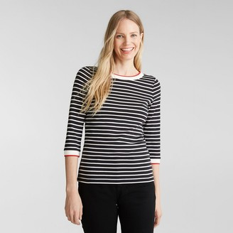 Esprit Breton Striped T-Shirt with Crew-Neck in Organic Cotton