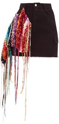 Germanier - Recycled Sequin-strand Denim Mini Skirt - Black Multi