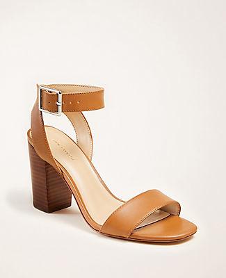 Ann Taylor Corey Leather Block Heel Sandals