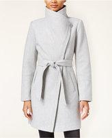 Jessica Simpson Faux-Leather-Trim Asymmetrical Belted Wrap Coat