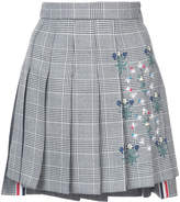 Thom Browne Dropped Back Mini Pleated Skirt With Floral Wallpaper Embroidery In Prince Of Wales Heavy Wool