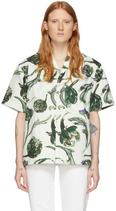 Jacquemus Off-White and Green Linen La Chemise Jean Shirt