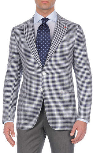 Isaia Check Silk/Cashmere/Linen Two-Button Blazer