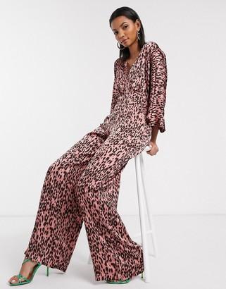 Liquorish flutter sleeve jumpsuit in pink leopard print