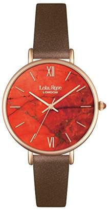 Lola Rose Women's Quartz Watch with Orange Dial Analogue Display and Brown Leather Strap LR2018
