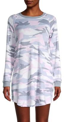 Kensie Camouflage-Print Long-Sleeve Sleepshirt