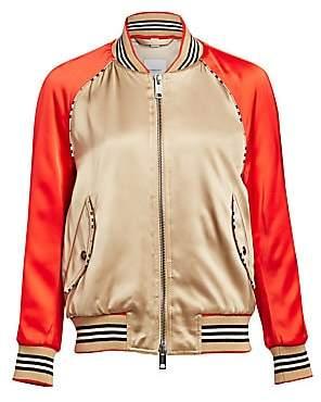 Burberry Women's Harlington Logo Patch Satin Bomber Jacket