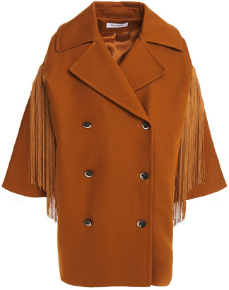 Rodebjer Chafika Double-breasted Fringed Cotton-twill Coat