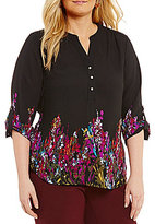 Investments Plus Floral Long Sleeve Roll Tab Y-Neck Popover