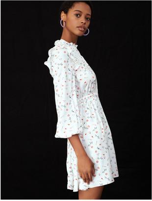 Maje Printed crepe dress with ruffles