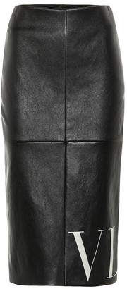Valentino VLTN leather midi skirt