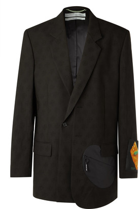 Off-White Oversized Appliqued Shell-Trimmed Wool-Jacquard Suit Jacket