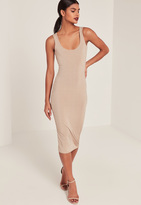 Missguided Nude Ribbed Longline Midi Dress