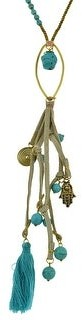 Aeravida Handmade Hanging in Elegance Hamsa Hand Turquoise Tassel Genuine Leather Necklace