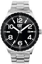 Caterpillar CAT Camden 43MM Men's Quartz Watch with Black Dial Analogue Display and Silver Stainless Steel Bracelet NI.241.11.131