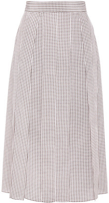 Joseph Charlie Pleated Houndstooth Silk Crepe De Chine Midi Skirt