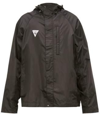 Vetements Logo Patch Hooded Technical Jacket - Mens - Black
