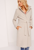 Missguided Belted Stand Up Collar Coat Nude
