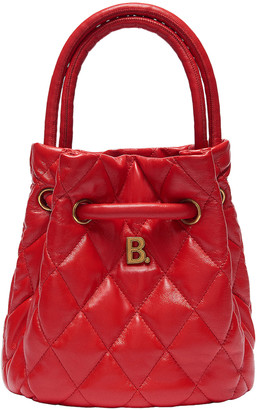Balenciaga Small Quilted Leather B Bucket Bag in Bright Red | FWRD