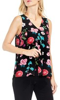Vince Camuto Women's Sleeveless Floral Heirlooms Drape Front Top