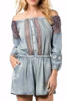 Miss Me Chambray & Lace Romper