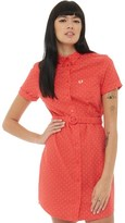Fred Perry Womens Polka Dot Belted Shirt Dress Hibiscus Pink