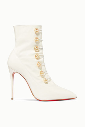 Christian Louboutin Liossima 100 Patent-leather Ankle Boots - White