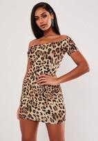 Missguided Leopard Print One Shoulder Mini Dress