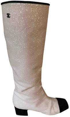 Chanel Beige Glitter Boots