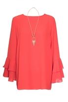 Quiz Orange Frill Sleeve Necklace Top