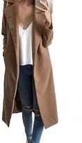 CFD Womens Fashion Lapel Solid Long Open Front Woolen Coat S